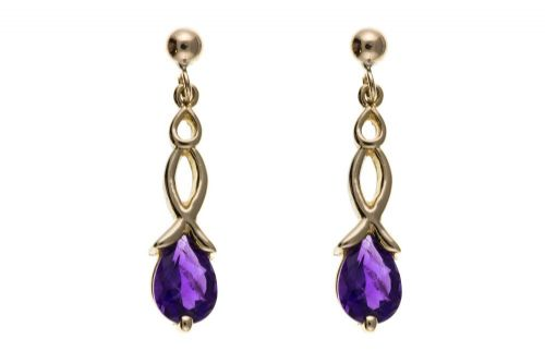 9 Carat Yellow Gold Amethyst Crisscross Drop Earrings